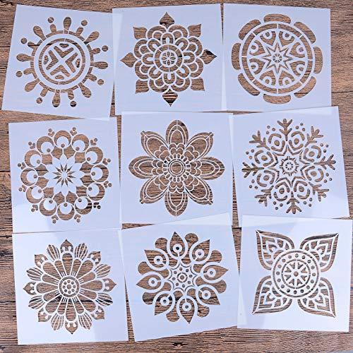 LOCOLO Wiederverwendbare Mandala-Bodenschablonen-Set mit 9 Stück (15,2 x 15,2 cm) Malschablone, Laser-geschnittene Malvorlage Bodenwand Fliesen Stoff Holz Schablonen DIY Dekor