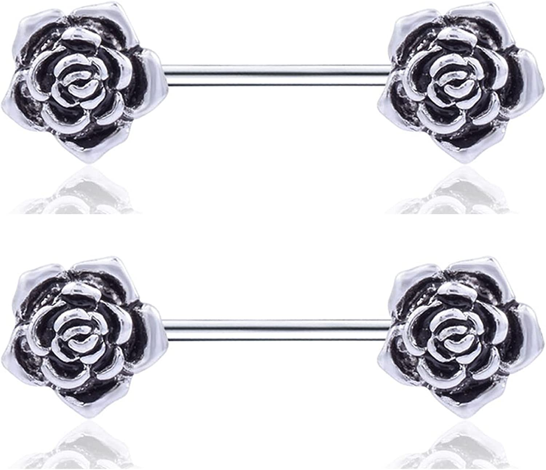 Salwosai 14G Stainless Steel Nipple Piercing Jewelry Nipplering Barbell Rose Body Rings 5/8 Inch