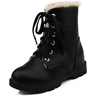 Women's Soft Leather Lace-up Soft Leather Low-Heels Round Closed Toe Boots