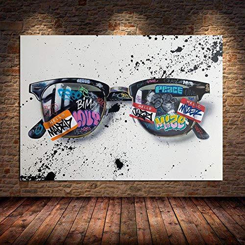neivy Pintura de Diamante Graffiti Art Gafas de Sol Pintura de Lienzo Pop Street Art Gafas Wall Art Pictures Decoración del hogar (Cuadrado 30x40cm)