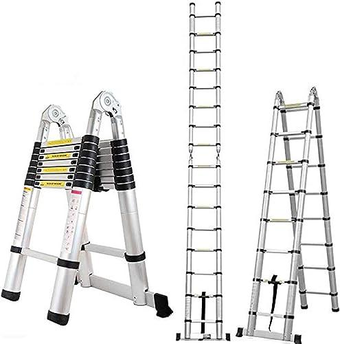 16.5FT Extension Folding Telescopic Aluminium A Frame Ladder EN131 Certificated 330lb Load Capacity