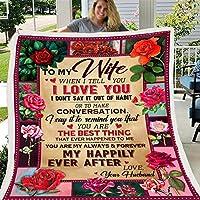 夫から私の妻へのフランネルブランケットガールフレンドと恋人のためのバレンタインデーのギフトはあなたに大きな愛の抱擁ブランケットの理想的なギフトを与えます,E,150*220