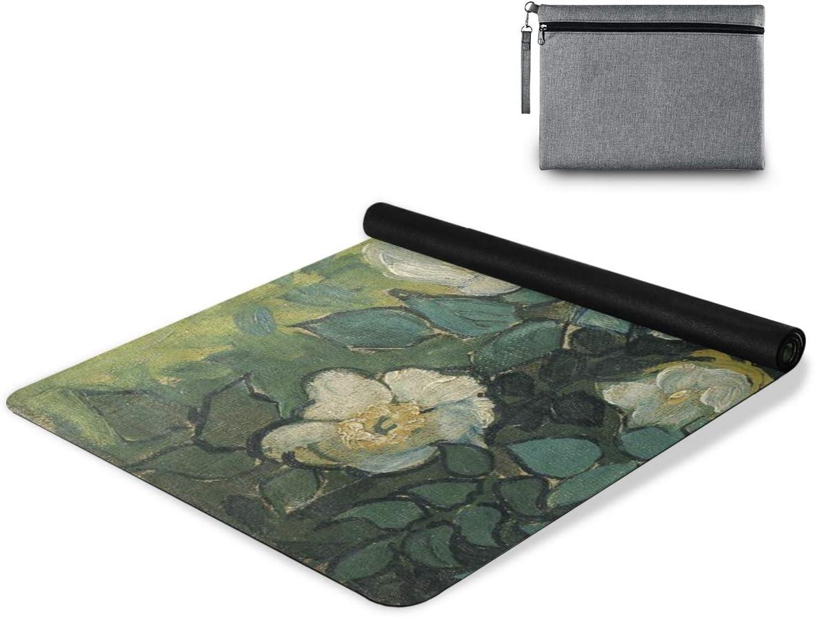 senya Non Sale Discount mail order item Slip Yoga Towel Vintage Painting Flower Micro Mat