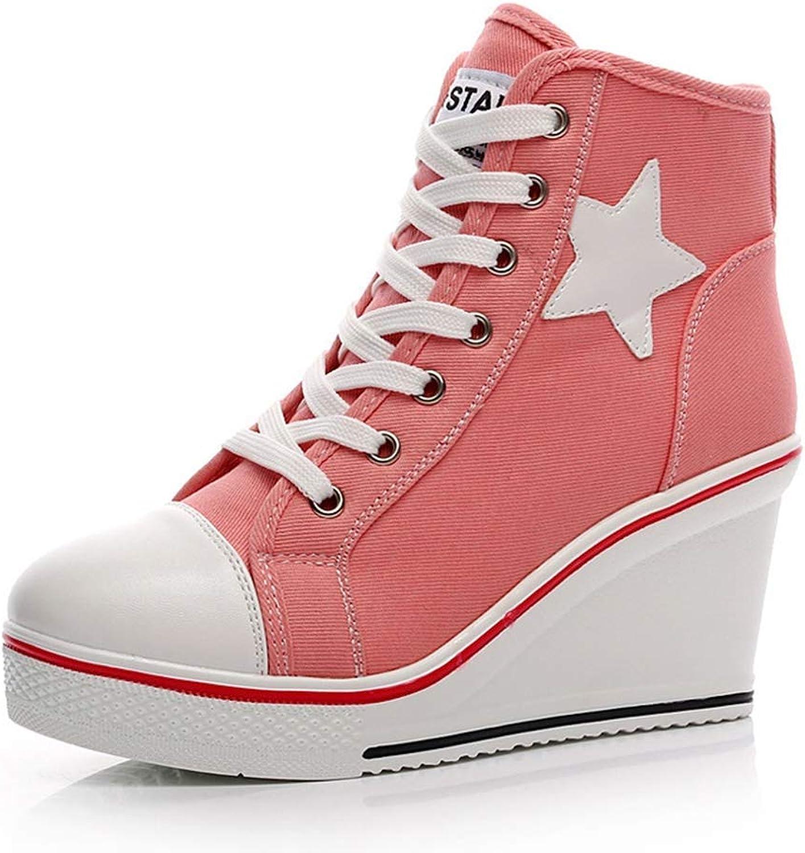 Webb Perkin Canvas Platform shoes Women Casual Ankle Boots High Top Hidden Wedge Heels