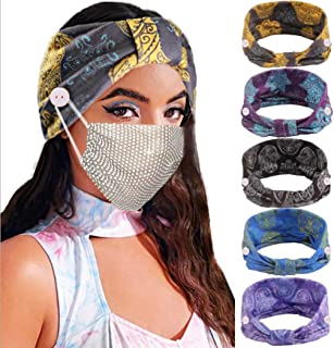 Earent Boho African Headbands Yoga Wide Knot Hair Bands Sweat Printed Headwraps Elastic Turban Headscarfs Multicolor Butto...
