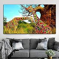"""モダンでカラフルなキリンの動物の帆布はポスターを印刷し、壁の芸術の絵を印刷しますリビングルームの家の装飾23.6"""" x43.3""""(60x110cm)フレームレス"""