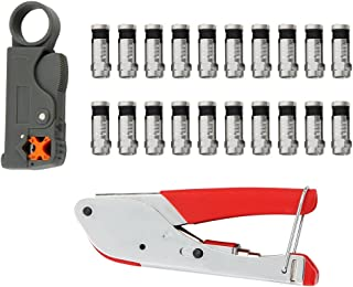 FLK Tech Crimping Tool Set Compression Tool and Cable Stripper for RG59 RG6 with 20pcs Black F Connectors