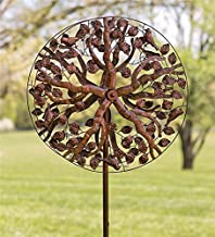 Outdoor Tree of Life Metal Garden Wind Spinner Kinetic Sculpture - 24 Dia. x 10.25 D x 75 H - Antique Copper Finish