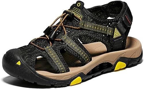 EGS-schuhe Herren Outdoor Baotou Sandalen Herren Freizeitschuhe Leder Strandschuhe,Grille Schuhe (Farbe   Gelb, Größe   40)