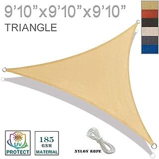 SUNNY GUARD 9'10'' x 9'10'' x 9'10'' Sand Triangle Sun Shade Sail UV Block for Outdoor Patio Garden