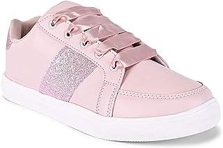 KazarMax Women's Shimmered Pink Platform Sneakers Shoes