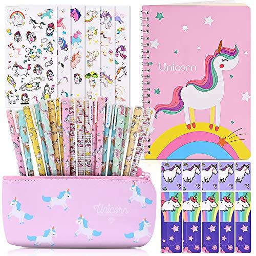 Faburo 40PCS Einhorn Stifte Set 20 Einhorn Stifte für Mädchen Schreibwaren mit Einhorn Notizbuch 12 Lesezeichen 6 Aufkleber und Gelstifte Box für Mädchen Geschenk Geburtstag