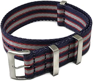 AquaNation - Watch Straps Seat Belt Silk Weaved Nylon Premium Quality Silk NATO Straps | Heavy Duty Military Style Replacement Watch Band | Choice of Color and Size 20mm, 22mm