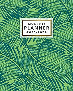2020-2022 Monthly Planner: Exotic Fern Leaves 3 Year Calendar & Organizer with Monthly Spread Views | Three Year Pretty Tropical Schedule Agenda with ... Quotes, Notes, Vision Boards & To-Do's