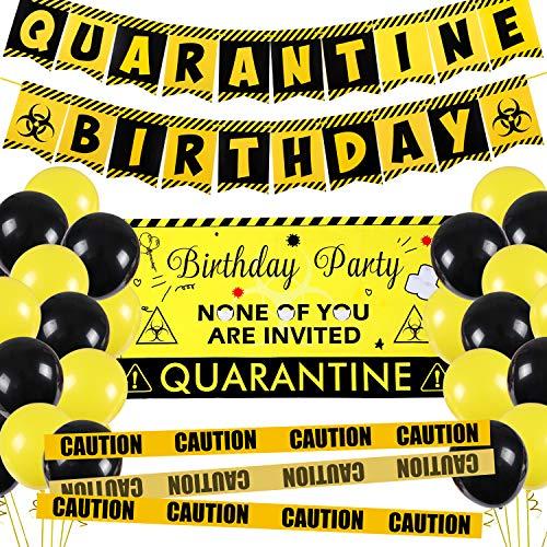 Golray Quarantine Birthday Party Decorations with Backdrop, Quarantine Birthday Banner, Balloons, Quarantine Strip, Social Distancing Backdrop Bday Party Idea Supplies Quarantine Decorations