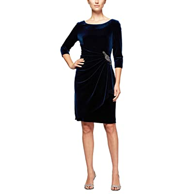 Alex Evenings Short Three Quarter Sleeve Velvet Dress (Petite Regular)