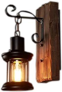 FEE-ZC Trading Company Wooden Wall lamp Retro Restaurant bar Clothing Shop American Rustic Living Room Bedroom bar net Cof...