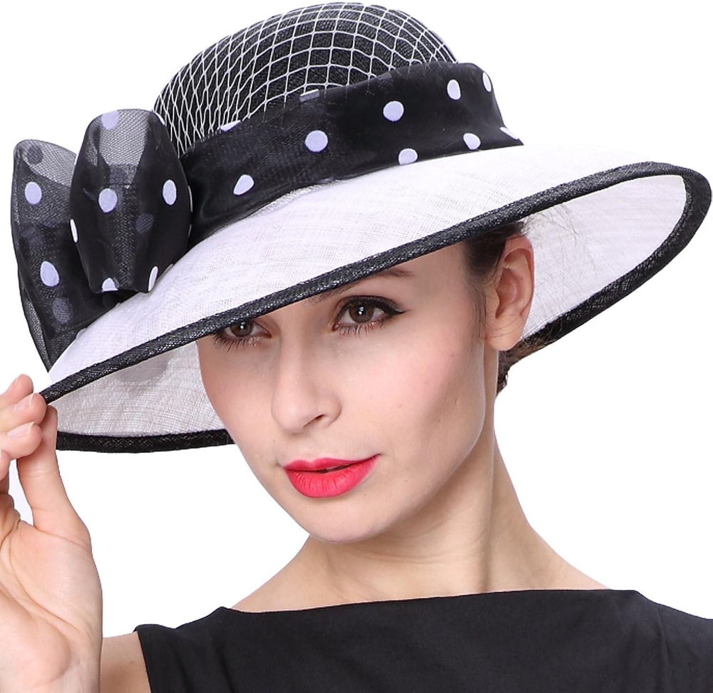 June's Young Women Hats Polka Dot Bowknot Pattern Cute Lady Hats