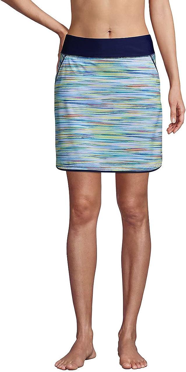 Lands' End Women's Quick Dry Elastic Waist Active Board Skort Swim Skirt
