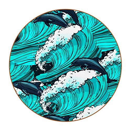 Juego de 6 posavasos de diseño único para posavasos de mesa con posavasos antideslizantes en la parte trasera de la taza de regalo, diseño de delfín de mar turquesa