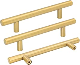 goldenwarm Brushed Brass Cabinet Handles Cabinet Door Handles Drawer Pull Handles for Kitchen Cabinets - LS201GD128 Cabine...