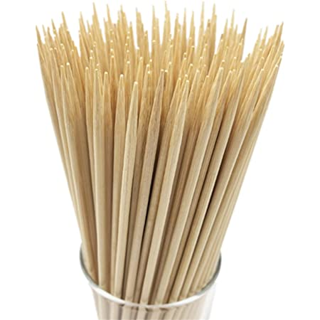 """HOPELF 8"""" Natural Bamboo Skewers for BBQ,Appetiser,Fruit,Cocktail,Kabob,Chocolate Fountain,Grilling,Barbecue,Kitchen,Crafting and Party. Φ=4mm, More Size Choices 6""""/10""""/12""""/14""""/16""""/30""""(100 PCS)"""