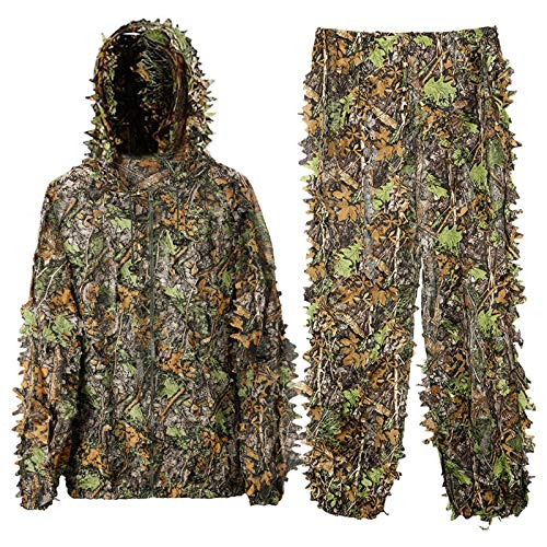 DoCred Ghillie Suit for Men, 3D Lightweight Hooded Camouflage Ghillie Breathable Hunting Suit (X-Large or XX-Large)