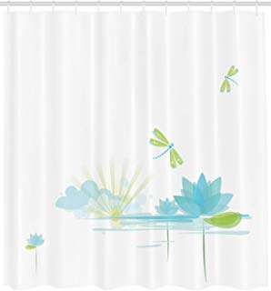 """Ambesonne Dragonfly Shower Curtain, Waterlily and Dragonfly Nature Background Clouds Lake Sun Design, Cloth Fabric Bathroom Decor Set with Hooks, 84"""" Extra Long, Apple Green"""