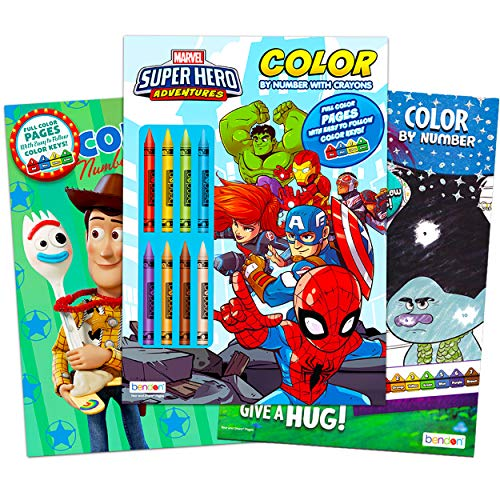 Boys Color by Numbers Coloring Books Bundle - 3 Pack Color by Number Books for Kids Featuring Marvel Superheroes, Disney Toy Story, and DreamWorks Trolls (Boys Activity Set)