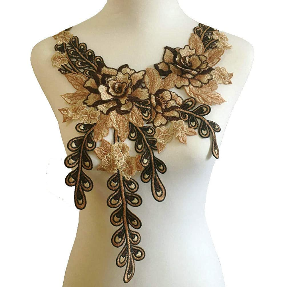 Coffee Khaki Brown Color Embroidered Lace Neckline Collar Warm Tones Floral Brown Leaf Applique Patches Scrapbooking Embossed Sewing (Style C)