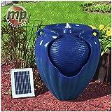 MP Essential Garden Outdoors Solar Ceramic Pot Urn Terracotta Water Fountain Feature (Blue)