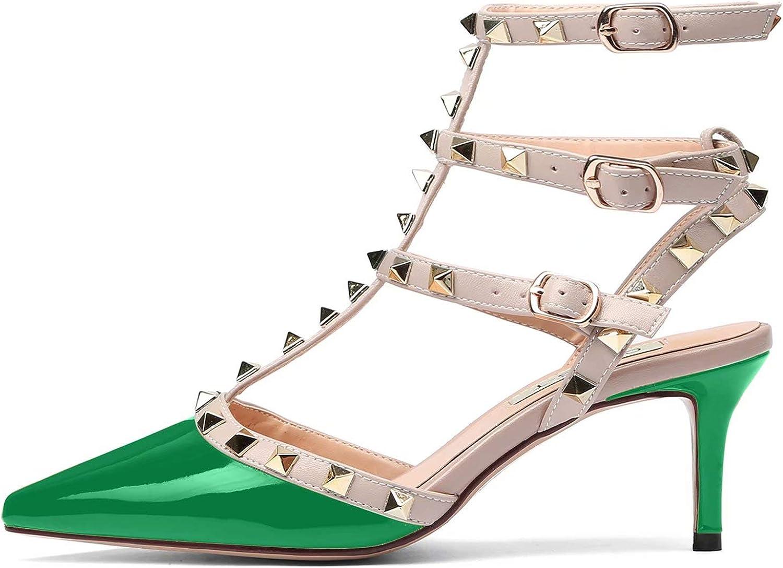 CHRIST Women's Pointy Toe Buckle Sandals Studded Slingback Kitten Heels Studs Leather Dress Pumps 5-13