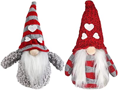 Meriwoods Plush Tomte Gnome Couple, 8.5 Inches Mini Swedish Nisse, Scandinavian Christmas Decorations, Santa Doll Ornaments for Nordic Holiday Decor, Xmas Family Friends Kids