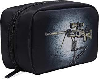 Sniper Rifle On Special Base Of Gun Weapon Portable Travel Makeup Cosmetic Bags Organizer Multifunction Case Small Toiletry Bags For Women And Men Brushes Case
