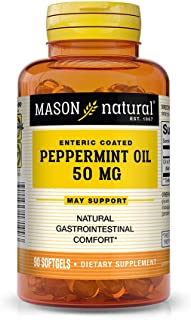 Mason Natural, Peppermint Oil, Enteric Coated Soft Gels, 50 Mg, 90 Count, Herbal Dietary Supplement Supports Healthy Diges...