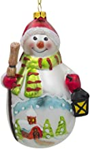 BestPysanky Snowman with Broom and Lantern Glass Christmas Ornament 4.75 Inches