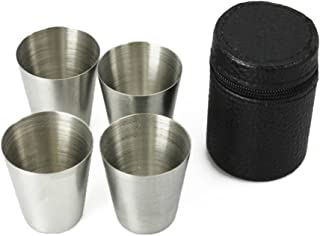 Yueton Set of 4 Stainless Steel Shot Cups Drinking Vessel with Black Leather Carrying Case (30ml)
