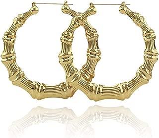 Shoopic Bamboo Earrings Gold Tone Statement Hip-Hop Hoop Earrings for Women