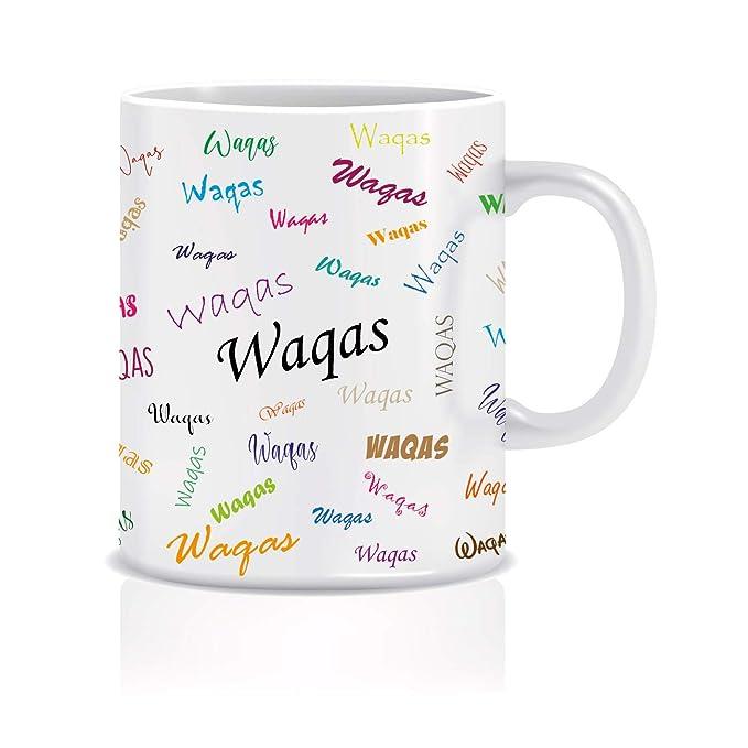 WeChitr Typography Coffee Mug for Waqas Personalised Name Ceramic, 350ml