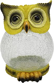 Gift Garden Statue Owl Figurine Reinforced Resin-Glass Statue with Solar Powered LED Lights for Patio Yard Art Decor Lawn ...