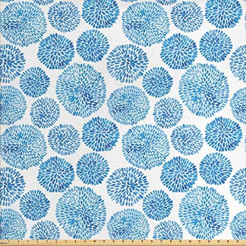 Ambesonne Watercolor Fabric by The Yard, Japanese Flower Circle Petal Pattern Spring Inspired Hand Drawn Eastern, Decorative Fabric for Upholstery and Home Accents, 1 Yard, Sky Blue