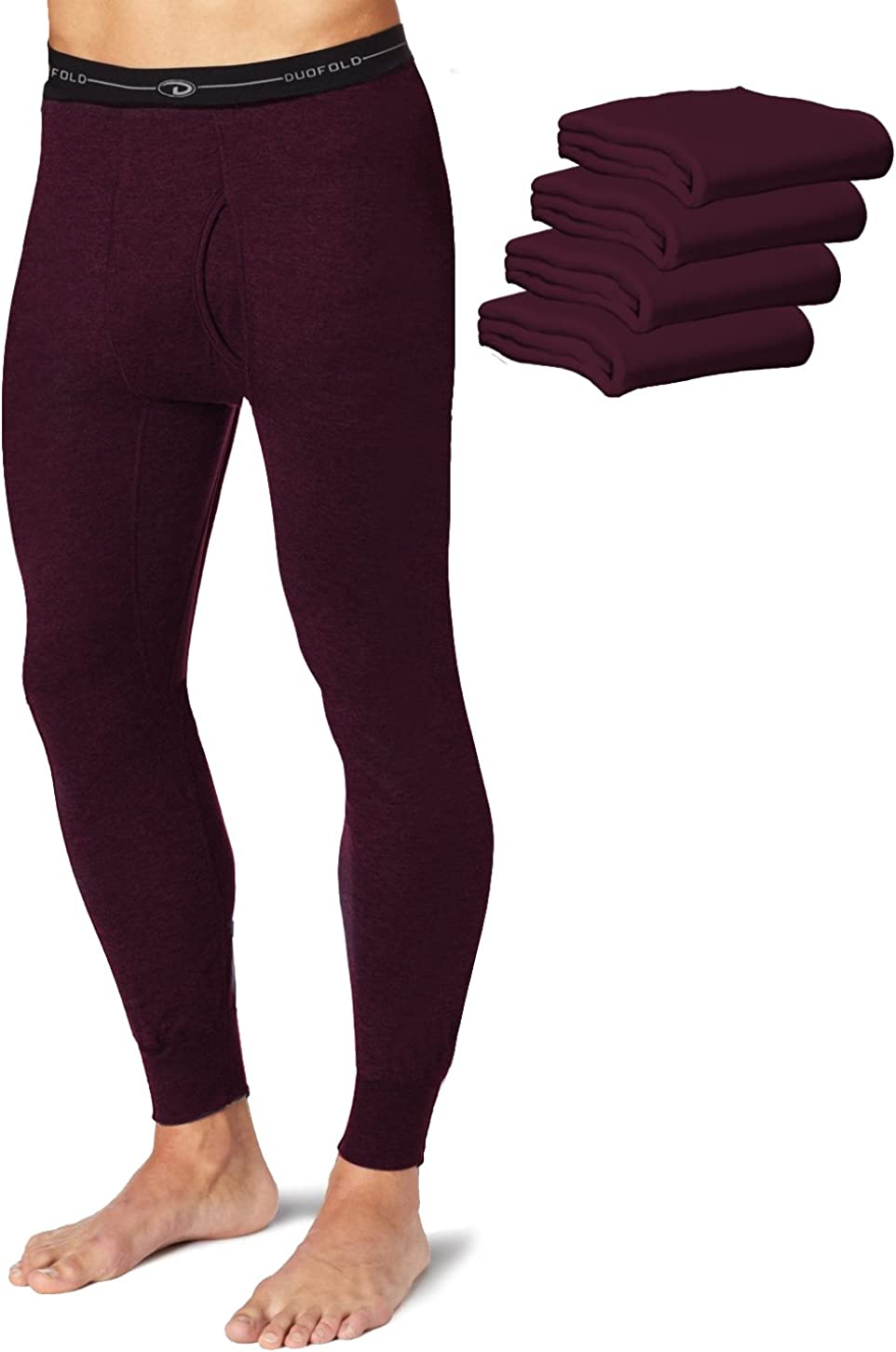 Duofold KMW2 Men's Mid Weight Wicking Thermal Pant Bordeaux Red (Pack of 5)
