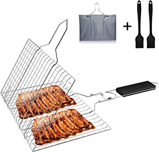 Grill Basket,Portable BBQ Grilling Basket with Foldable Wooden Handle, Stainless Steel Barbeque Grill Basket with Storage Bag & 2 Silicone Brushes, Outdoor BBQ Tools for Meats, Fishs, Seafoods, Vegeta