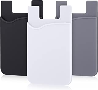 Pofesun Phone Card Holder, 3 Pack Mix Color Adhesive Sticker ID Credit Card Wallet Pocket Pouch Sleeve Universal Compatible for Smartphone, iPhone, iPad, Tablet, Android and More.(Black, White, Gray)