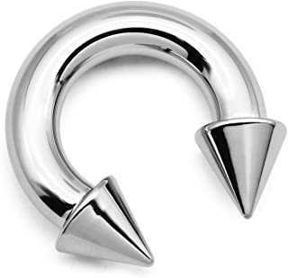 PA Ring-Internally Threaded Spike Circular Barbells Horseshoe 00G-0G-2G-4G-6G-8G-10G-12G 12mm/16mm/19mm 316L Surgical Steel Pierced Body Jewelry Sold Individually