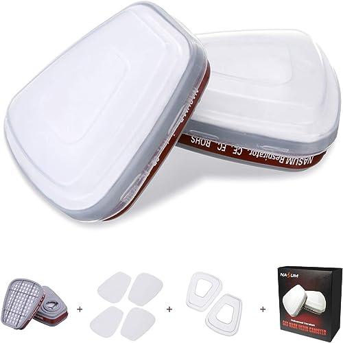 NASUM Kit d'Accessoires pour Couverture de Visage M101/201/301/401, Incluant 4 Cotons Filtrants / 2 Cartouches Filtra...