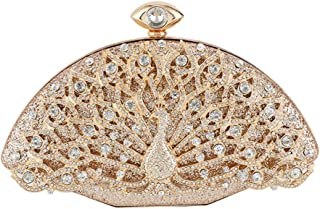 Fresh wild simple fashion Glossy Inlaid Rhinestone Crystal Openwork Peacock Banquet Clutch Wedding Dress Evening Bag Chain...