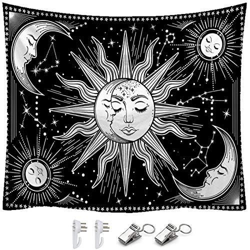K/B Tapiz de Pared Tarot/Astrología Tapices Grande, Decorativos de Habitación Mística Psicodélica con Herramienta de Instalación Gratuita (Sol y Luna)