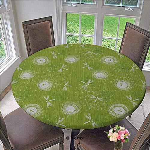 ThinkingPower Mantel elástico estilo boceto, pétalos de diente de león, primavera, belleza, naturaleza, imagen de flor de la naturaleza, tapa de mesa extensible para el hogar, clase, salón de clase, verde lima, crema, diámetro de 63 pulgadas