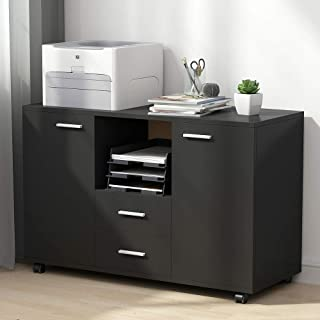 Tribesigns 2 Drawer File Cabinets, Mobile Lateral Filing Cabinets Printer Stand on Wheels, Office Cabinet with 2 Doors Storage Cabinet
